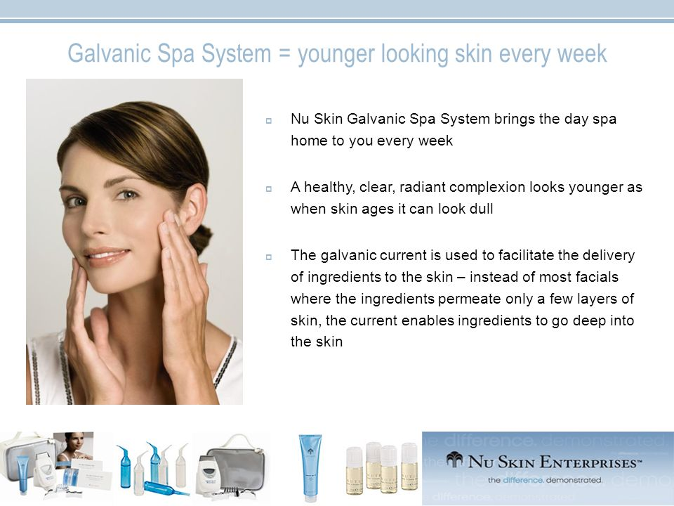 Galvanic Spa System = younger looking skin every week Nu Skin Galvanic Spa System brings the day spa home to you every week A healthy, clear, radiant