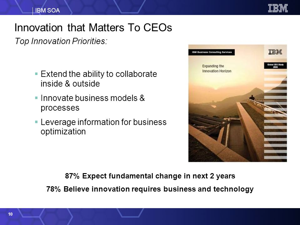 IBM SOA 10 Innovation that Matters To CEOs Top Innovation Priorities: Extend the ability to collaborate inside & outside Innovate business models & processes Leverage information for business optimization Source: 2006 IBM Global CEO Survey 87% Expect fundamental change in next 2 years 78% Believe innovation requires business and technology