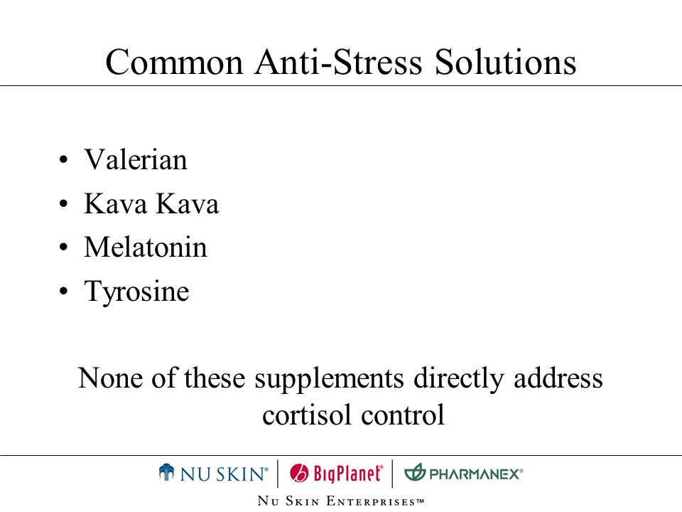 Valerian Kava Melatonin Tyrosine None of these supplements directly address cortisol control Common Anti-Stress Solutions