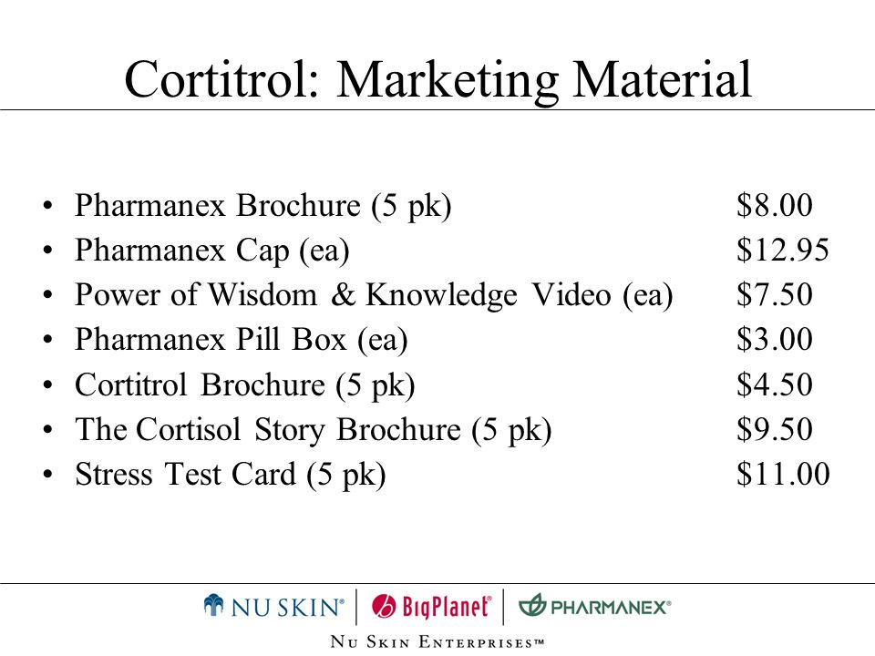 Cortitrol: Marketing Material Pharmanex Brochure (5 pk)$8.00 Pharmanex Cap (ea)$12.95 Power of Wisdom & Knowledge Video (ea)$7.50 Pharmanex Pill Box (