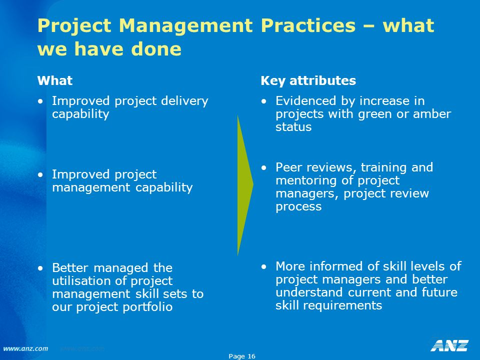 Page 16 Project Management Practices – what we have done What Improved project delivery capability Improved project management capability Better manag