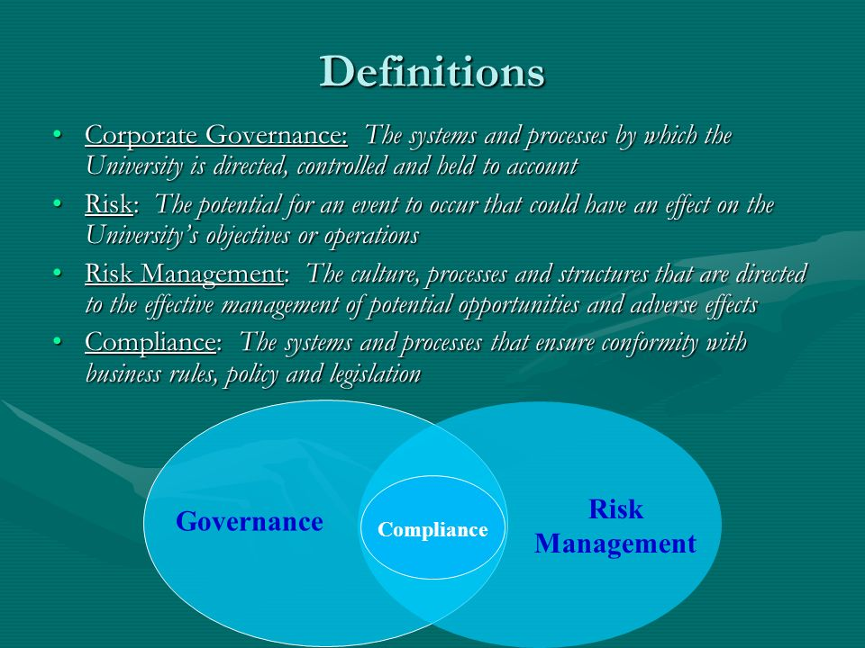 Definitions Corporate Governance: The systems and processes by which the University is directed, controlled and held to accountCorporate Governance: T