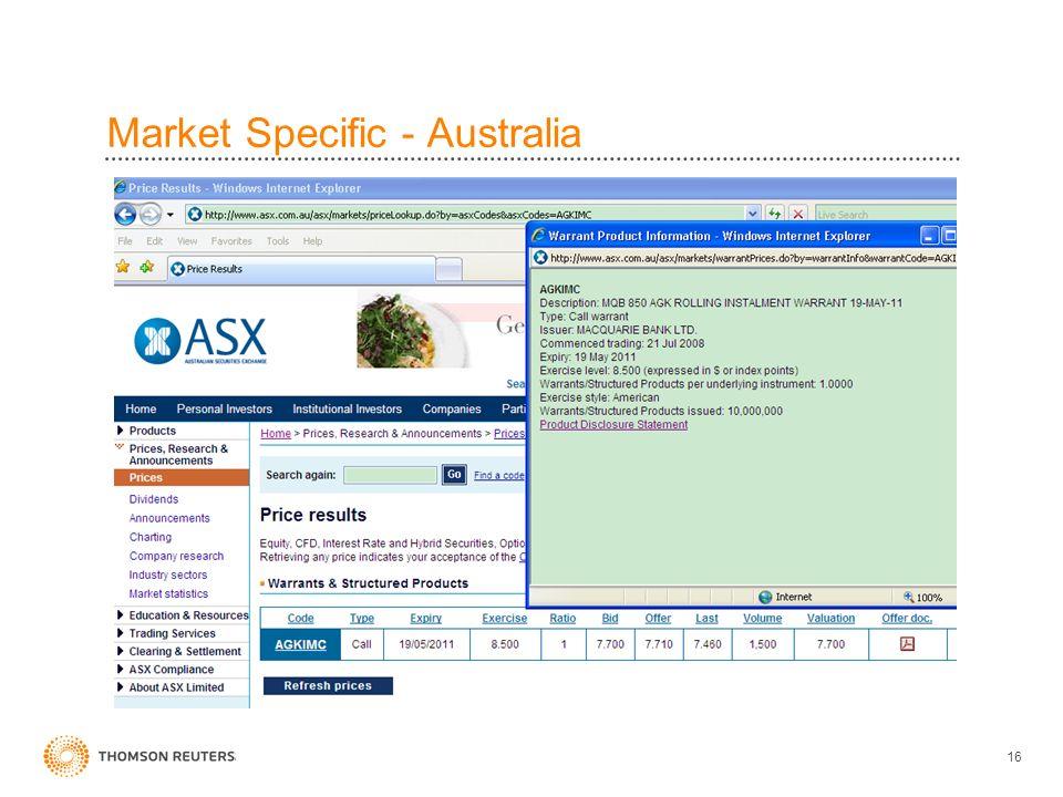 Market Specific - Australia 16