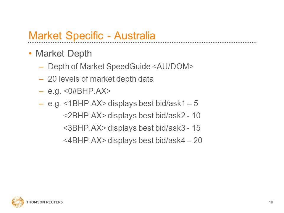 19 Market Specific - Australia Market Depth –Depth of Market SpeedGuide –20 levels of market depth data –e.g.
