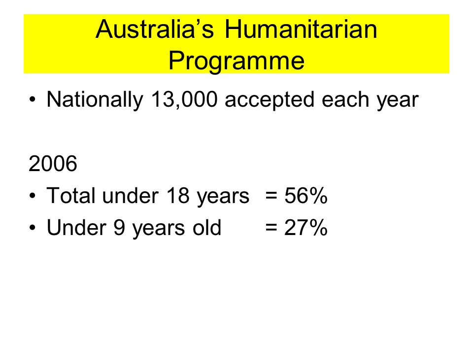 Australias Humanitarian Programme Nationally 13,000 accepted each year 2006 Total under 18 years = 56% Under 9 years old = 27%