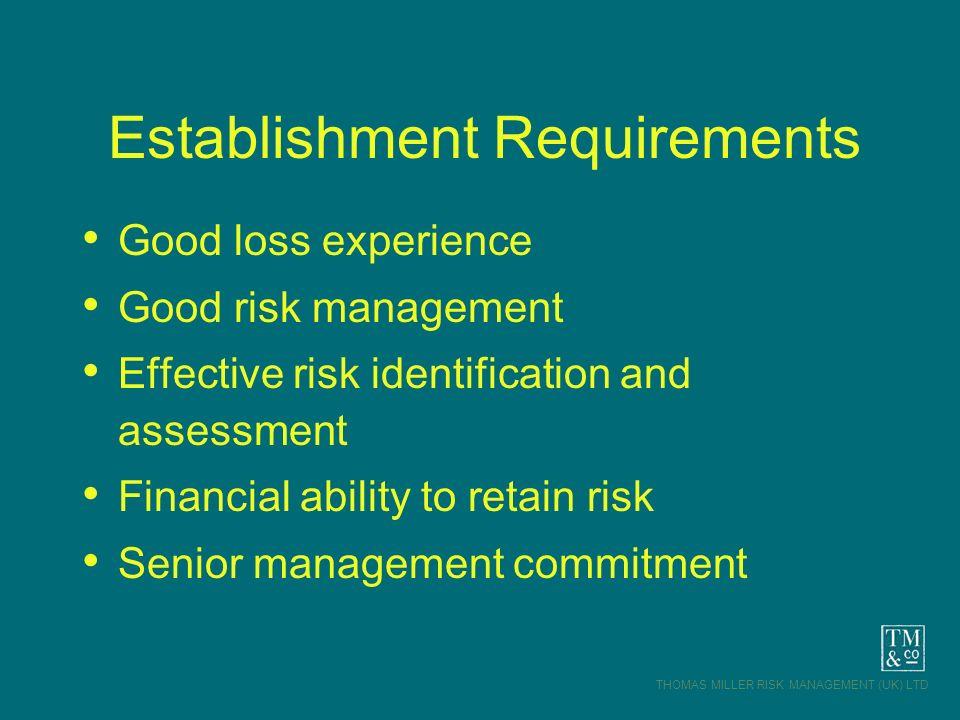 THOMAS MILLER RISK MANAGEMENT (UK) LTD Establishment Requirements Good loss experience Good risk management Effective risk identification and assessme