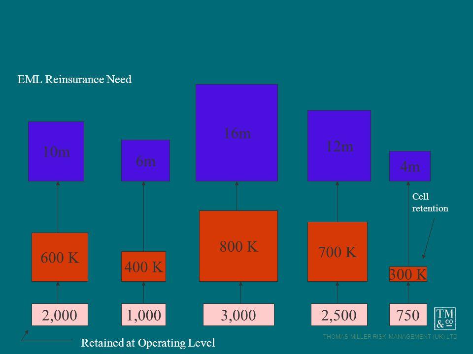 THOMAS MILLER RISK MANAGEMENT (UK) LTD 2,0001,0007502,5003,000 600 K 400 K 800 K 700 K 300 K 10m 6m 16m 12m 4m EML Reinsurance Need Retained at Operat