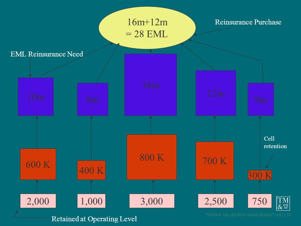 THOMAS MILLER RISK MANAGEMENT (UK) LTD 2,0001,0007502,5003,000 600 K 400 K 800 K 700 K 300 K 10m 8m 16m 12m 9m 16m+12m = 28 EML Reinsurance Purchase E
