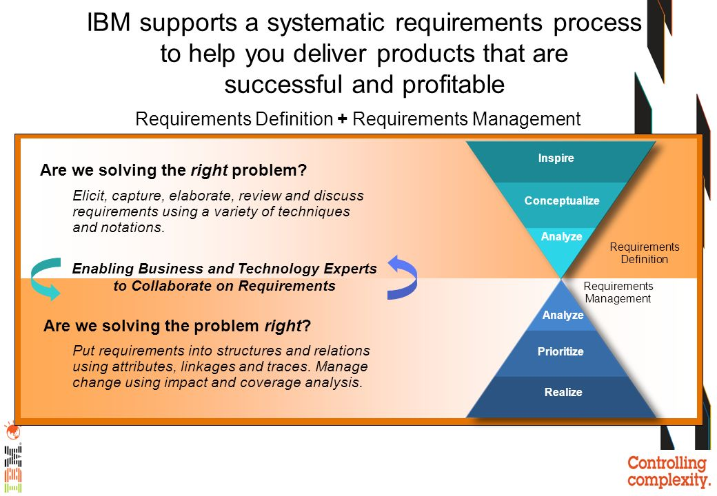 IBM Integrated Requirements Management Solution Capture Analysis Validation Change Management Traceability Impact Analysis Reporting & Metrics Monitoring Business AnalysisProduct/Solution Analysis & Implementation Test & MaintenanceAnalysisIdeasImplementation Requirements DefinitionRequirements Management A requirements view across the lifecycle For Programs, Projects, Products, Systems and Systems-of-Systems Traceability - manage compliance (at every level) Improve ability and efficiency in managing change Reduce defects and cost of recall / in- service modifications Quality improvements – higher user satisfaction Cope with higher complexity Common repository – use the latest versions and know where they are Use of attributes provide for reporting Supply chain better visibility of solution and compliance to customer requirements easier validation of deliverable(s) Reduce the need for re-training when staff move projects