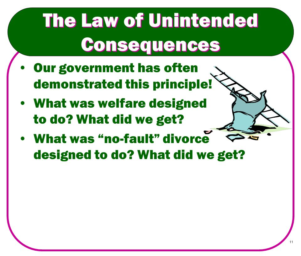 11 The Law of Unintended Consequences Our government has often demonstrated this principle! What was welfare designed to do? What did we get? What was