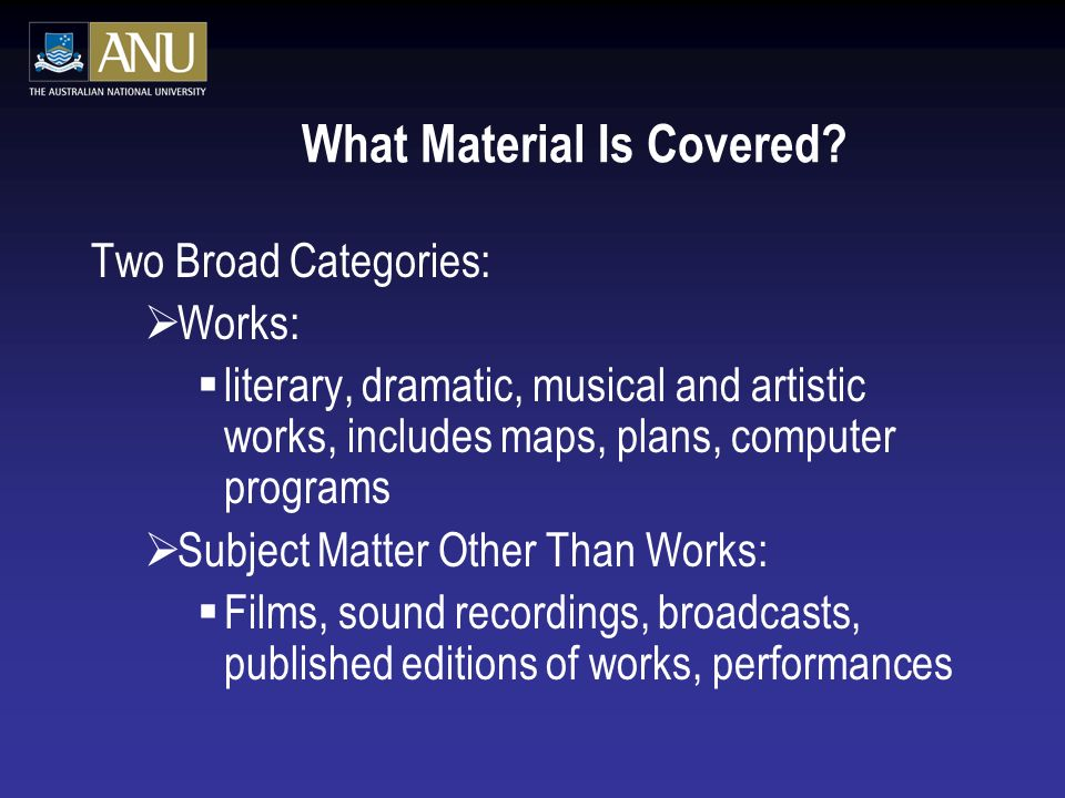 What Material Is Covered.
