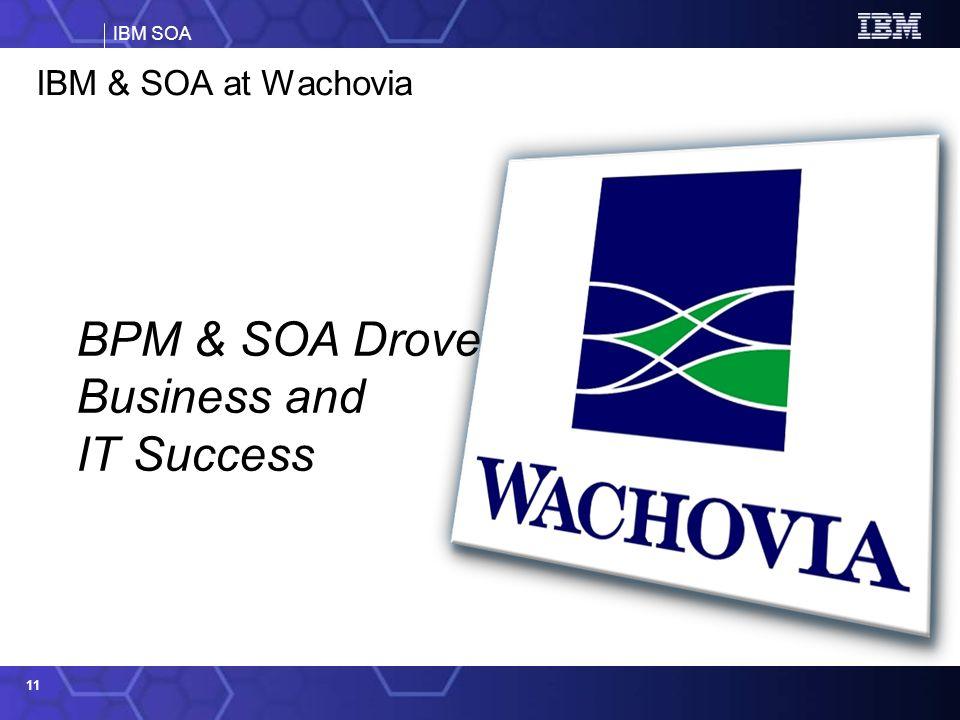 IBM SOA 11 IBM & SOA at Wachovia BPM & SOA Drove Business and IT Success