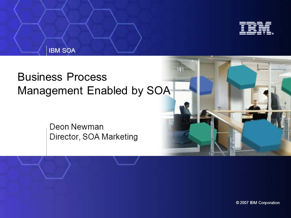 IBM SOA 23 Q4 20063Q 20072008 Interoperability WebSphere & FileNet Processes can invoke each other Integration Common Service Registry and Repository Common Modeling, Monitoring Tool Enhanced run-time integration WebSphere & FileNet Roadmap BPM Enhancements Innovation Investment Protection