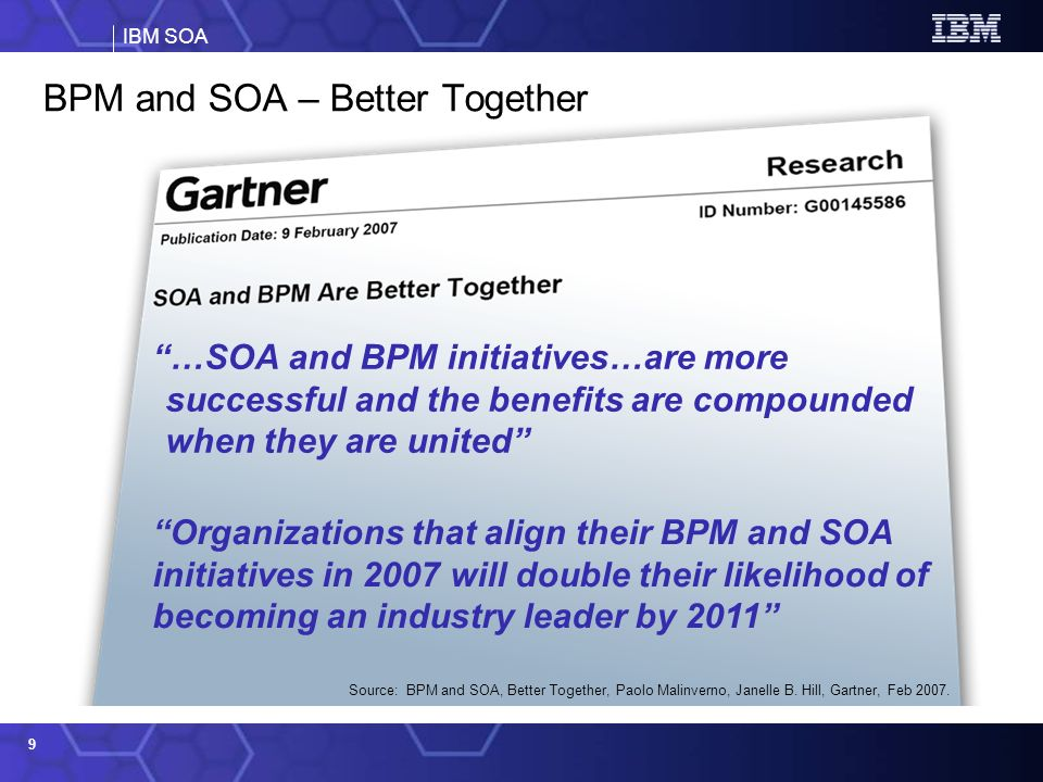 IBM SOA 10 ….and heres why SOA improves how you design, manage, and optimize your business processes by enabling: Solution Building Efficiency Reuse of existing assets Flexibility in change Services (Application & Information) Operational Systems (Application & Information Assets) Business Processes Data Registry Application Content External SOA at the core of BPM: