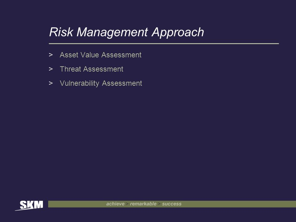 Risk Management Approach >Asset Value Assessment >Threat Assessment >Vulnerability Assessment