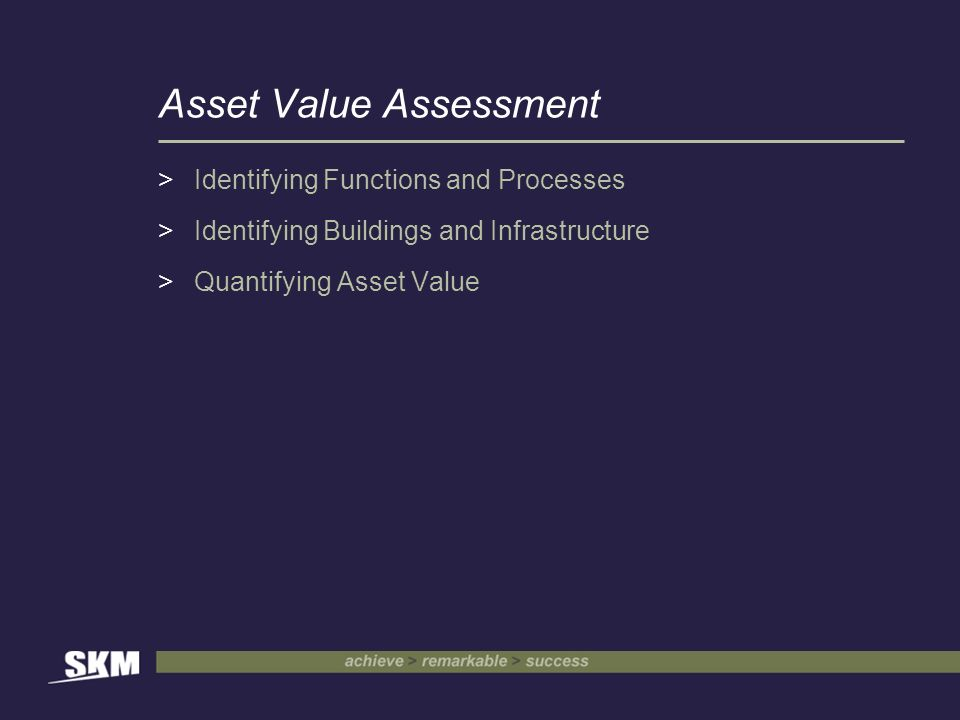 Asset Value Assessment >Identifying Functions and Processes >Identifying Buildings and Infrastructure >Quantifying Asset Value