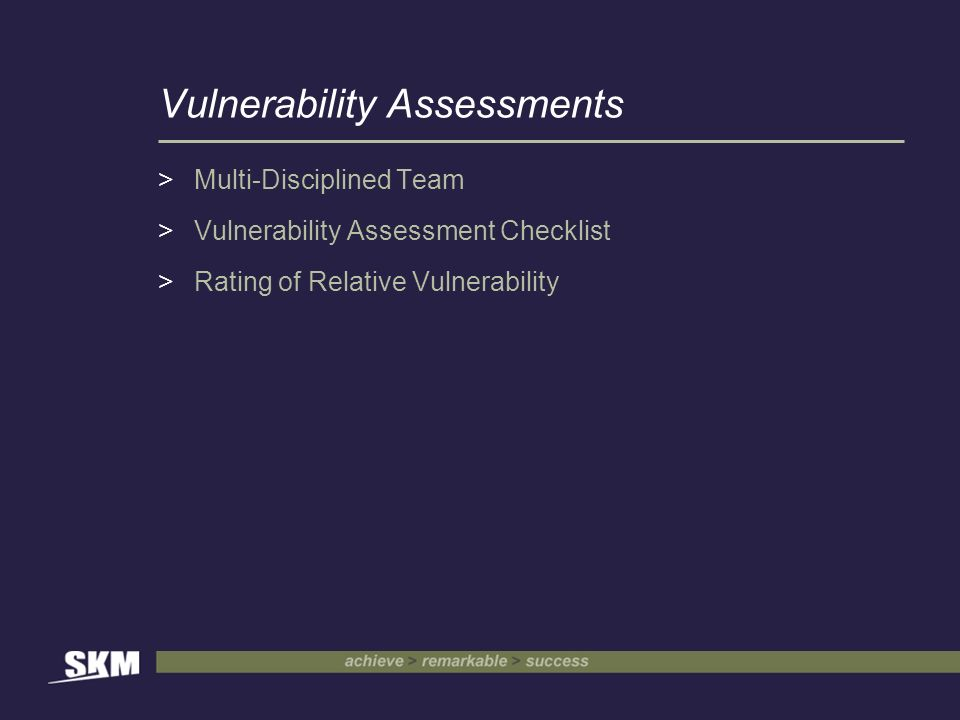 Vulnerability Assessments >Multi-Disciplined Team >Vulnerability Assessment Checklist >Rating of Relative Vulnerability