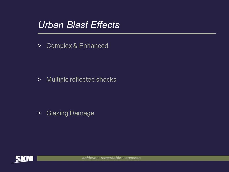 Urban Blast Effects >Complex & Enhanced >Multiple reflected shocks >Glazing Damage