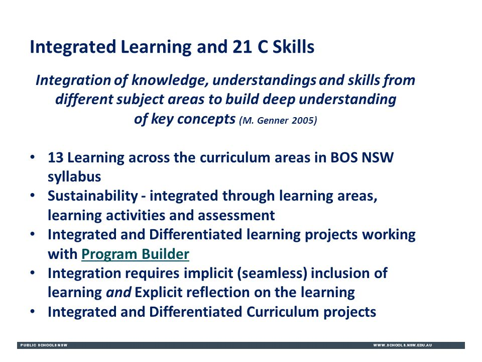 PUBLIC SCHOOLS NSWWWW.SCHOOLS.NSW.EDU.AU Integrated Learning and 21 C Skills Integration of knowledge, understandings and skills from different subject areas to build deep understanding of key concepts (M.
