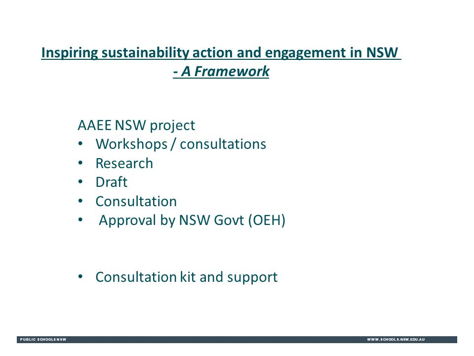 PUBLIC SCHOOLS NSWWWW.SCHOOLS.NSW.EDU.AU Inspiring sustainability action and engagement in NSW - A Framework AAEE NSW project Workshops / consultations Research Draft Consultation Approval by NSW Govt (OEH) Consultation kit and support