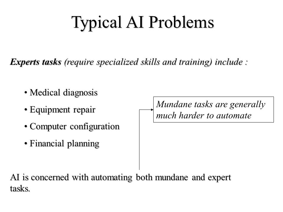 Typical AI Problems Experts tasks (require specialized skills and training) include : Medical diagnosis Equipment repair Equipment repair Computer con