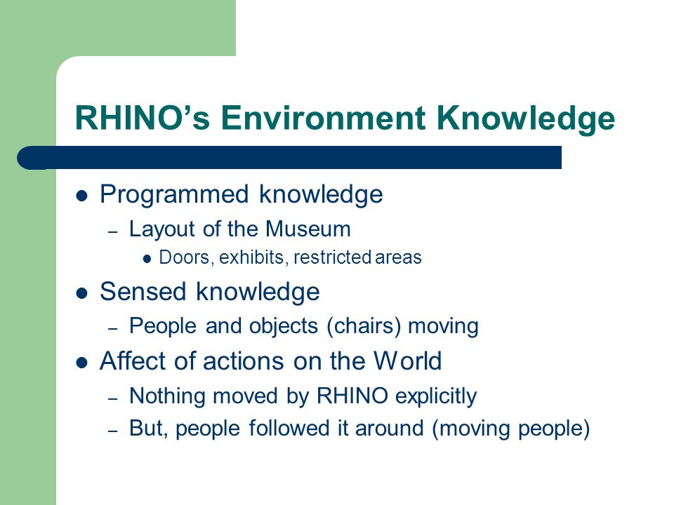 RHINOs Environment Knowledge Programmed knowledge – Layout of the Museum Doors, exhibits, restricted areas Sensed knowledge – People and objects (chai