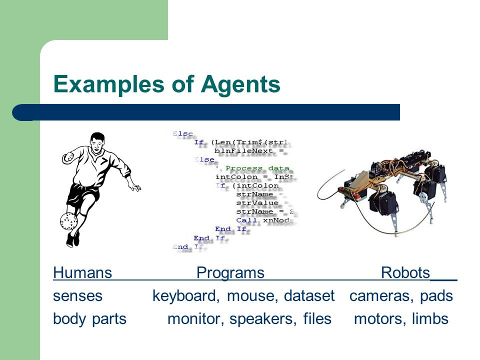 Examples of Agents Humans Programs Robots___ senses keyboard, mouse, dataset cameras, pads body parts monitor, speakers, files motors, limbs