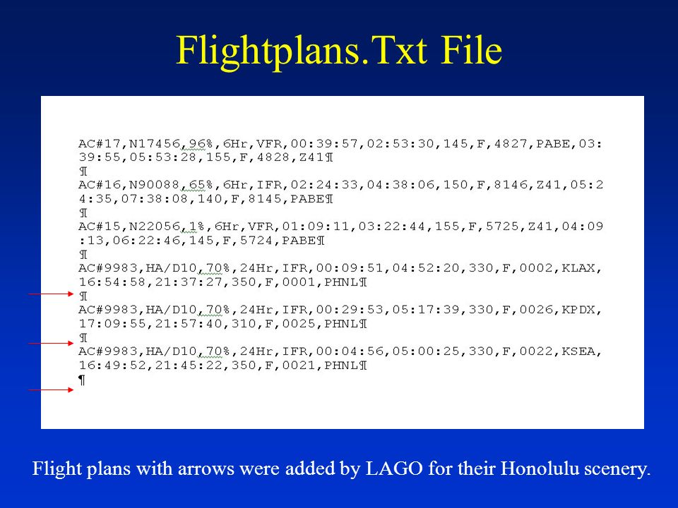 Airports.Txt File Arrow points to format for adding airports.