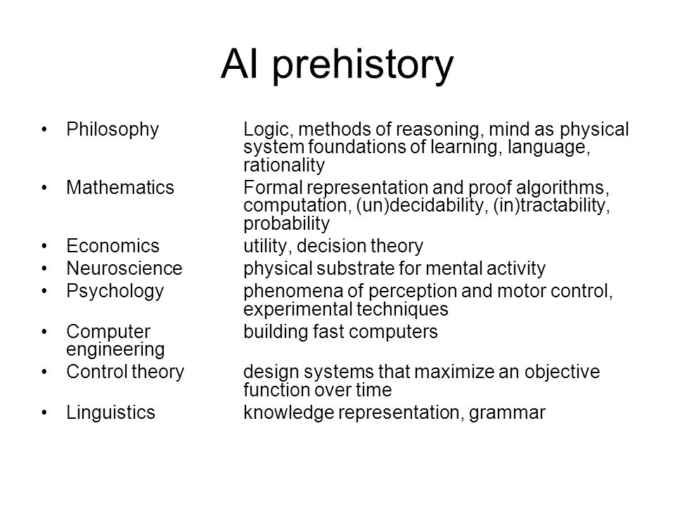 AI prehistory PhilosophyLogic, methods of reasoning, mind as physical system foundations of learning, language, rationality MathematicsFormal represen