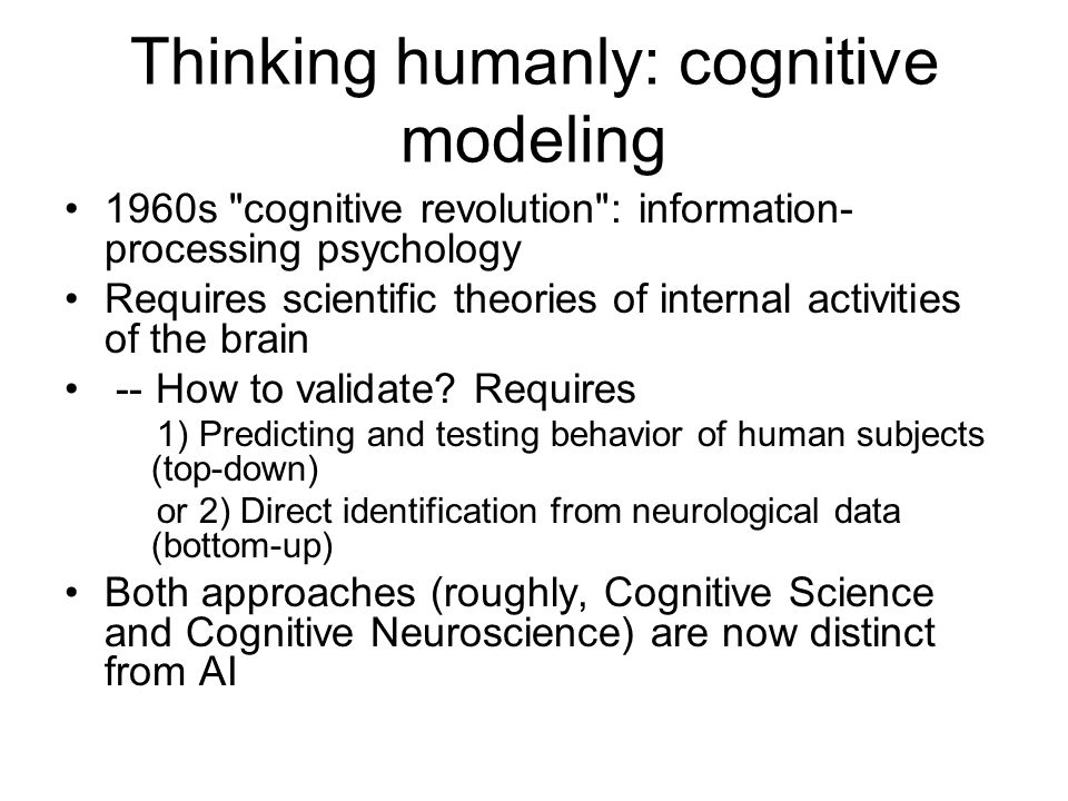 Thinking humanly: cognitive modeling 1960s