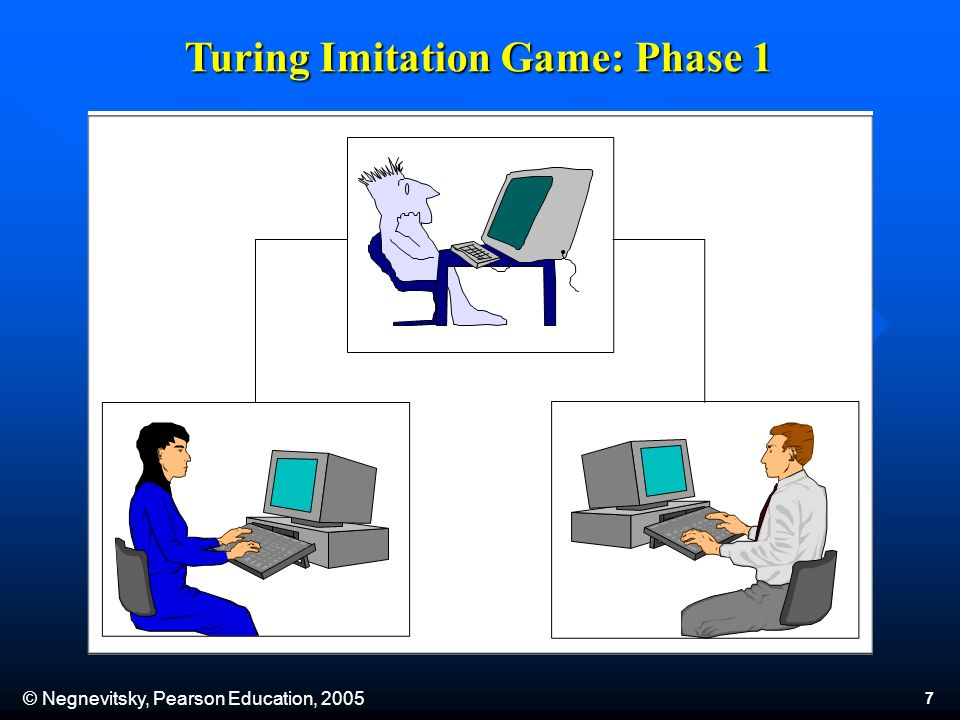 © Negnevitsky, Pearson Education, 2005 8 In the second phase of the game, the man is replaced by a computer programmed to deceive the interrogator as the man did.