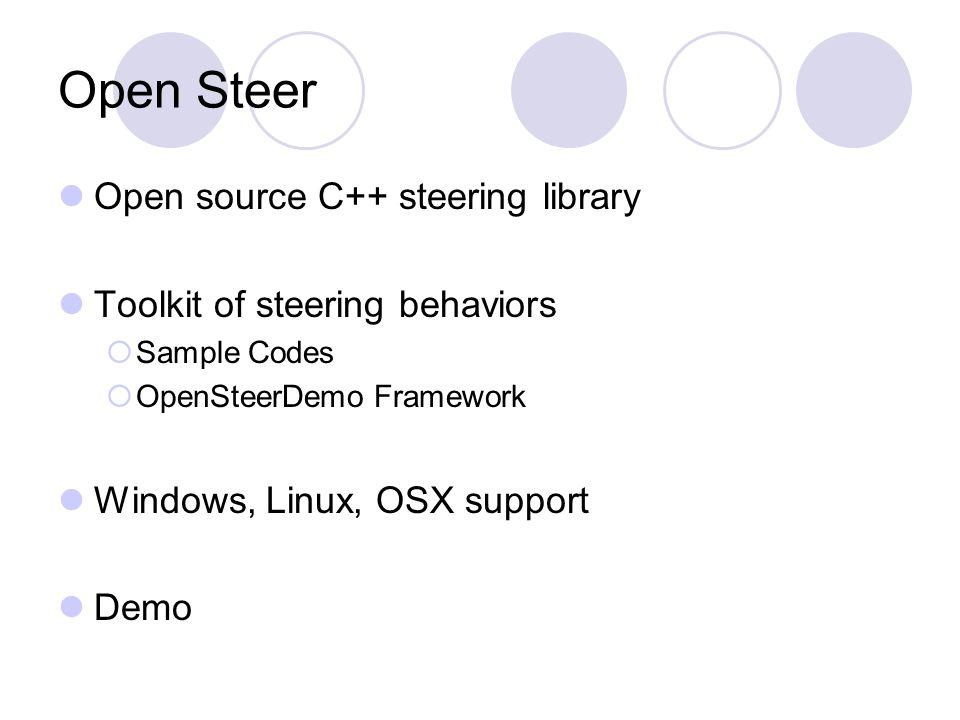 Open Steer Open source C++ steering library Toolkit of steering behaviors Sample Codes OpenSteerDemo Framework Windows, Linux, OSX support Demo