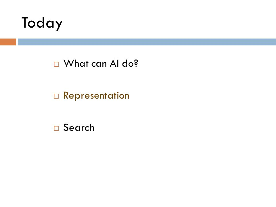 Today What can AI do? Representation Search