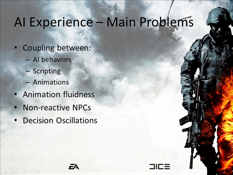AI Experience – Main Problems Coupling between: – AI behaviors – Scripting – Animations Animation fluidness Non-reactive NPCs Decision Oscillations