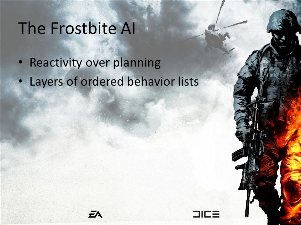 The Frostbite AI Reactivity over planning Layers of ordered behavior lists