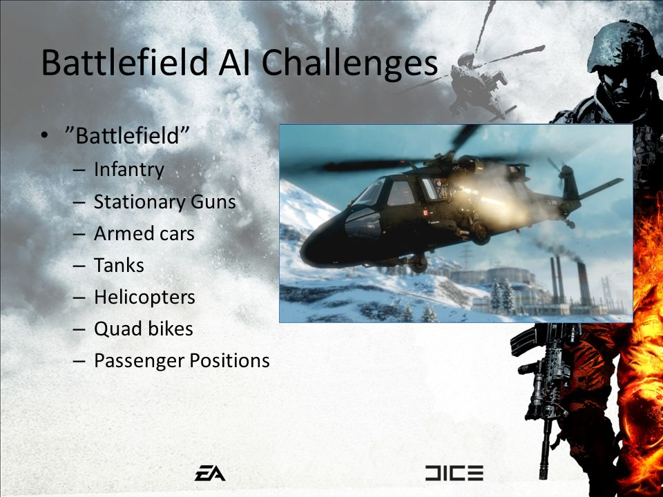 Battlefield AI Challenges Battlefield – Infantry – Stationary Guns – Armed cars – Tanks – Helicopters – Quad bikes – Passenger Positions