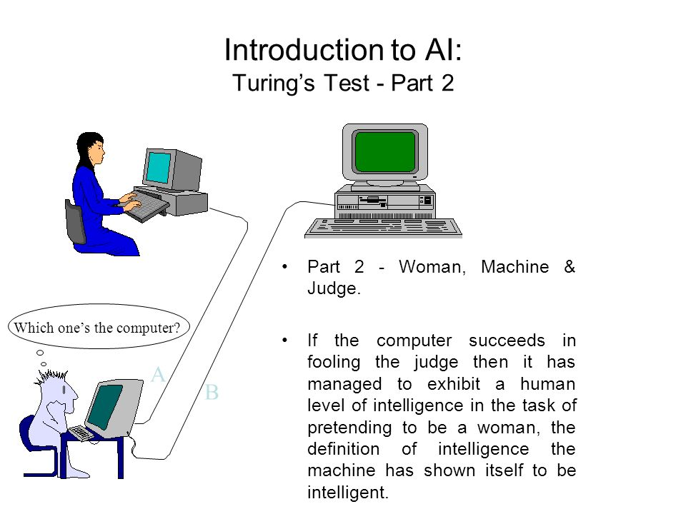 Introduction to AI: Turings Test - Part 2 Part 2 - Woman, Machine & Judge. If the computer succeeds in fooling the judge then it has managed to exhibi
