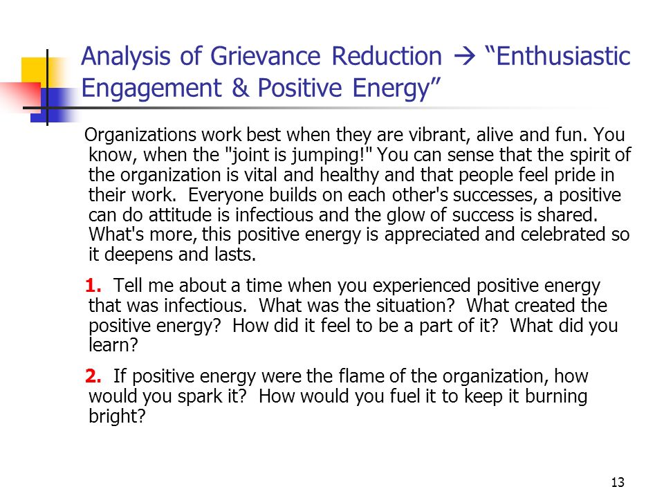 13 Analysis of Grievance Reduction Enthusiastic Engagement & Positive Energy Organizations work best when they are vibrant, alive and fun. You know, w