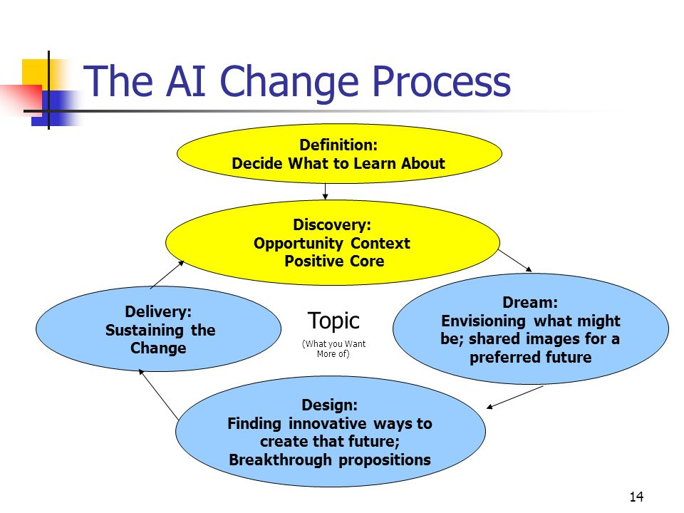 14 The AI Change Process Definition: Decide What to Learn About Discovery: Opportunity Context Positive Core Dream: Envisioning what might be; shared