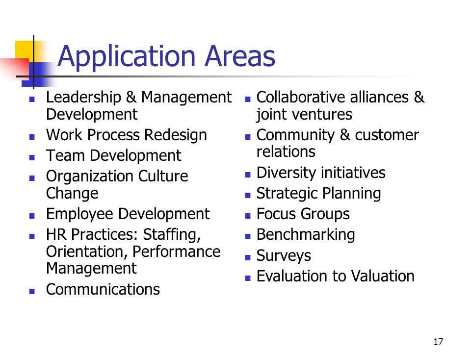 17 Application Areas Leadership & Management Development Work Process Redesign Team Development Organization Culture Change Employee Development HR Practices: Staffing, Orientation, Performance Management Communications Collaborative alliances & joint ventures Community & customer relations Diversity initiatives Strategic Planning Focus Groups Benchmarking Surveys Evaluation to Valuation