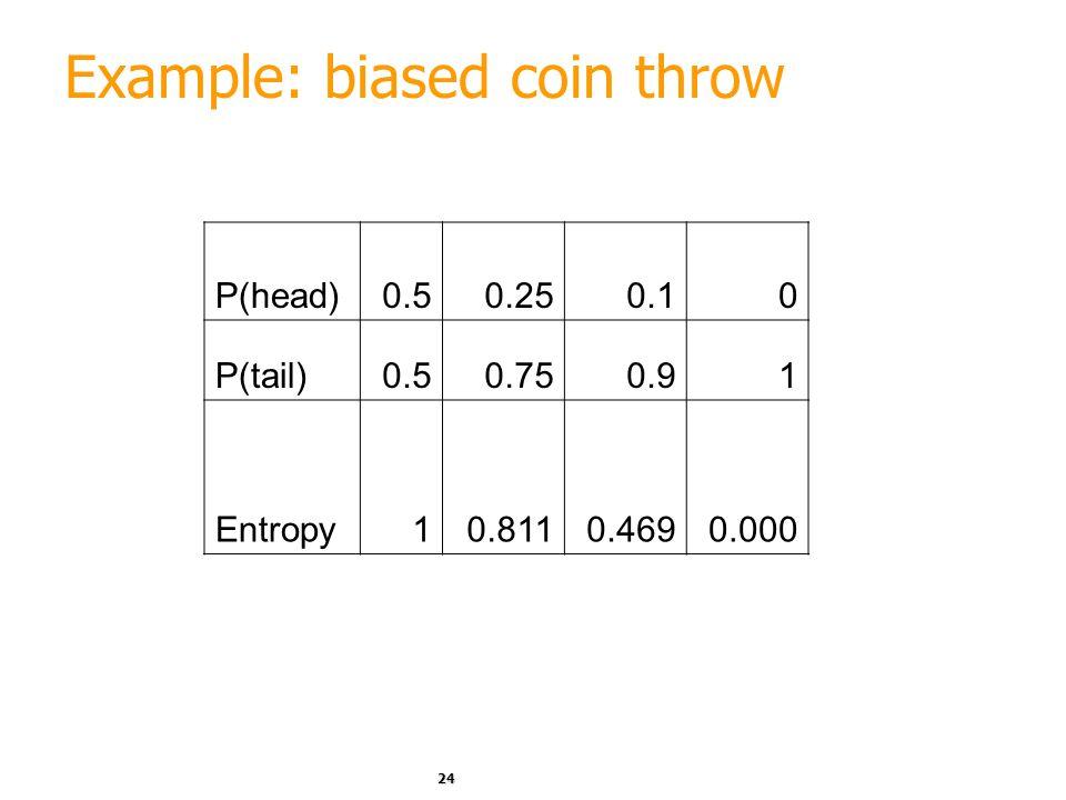 23 Example: fair coin throw P (head) = 0.5 P (tail) = 0.5