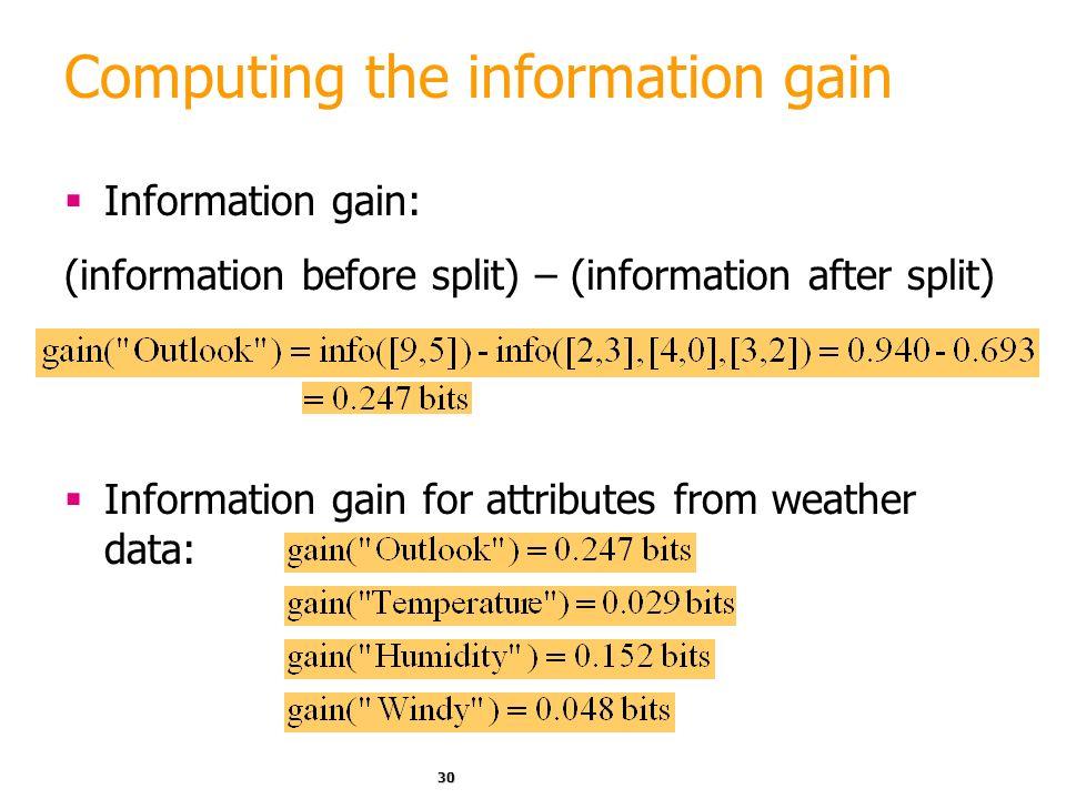29 Expected Information Expected information for attribute: