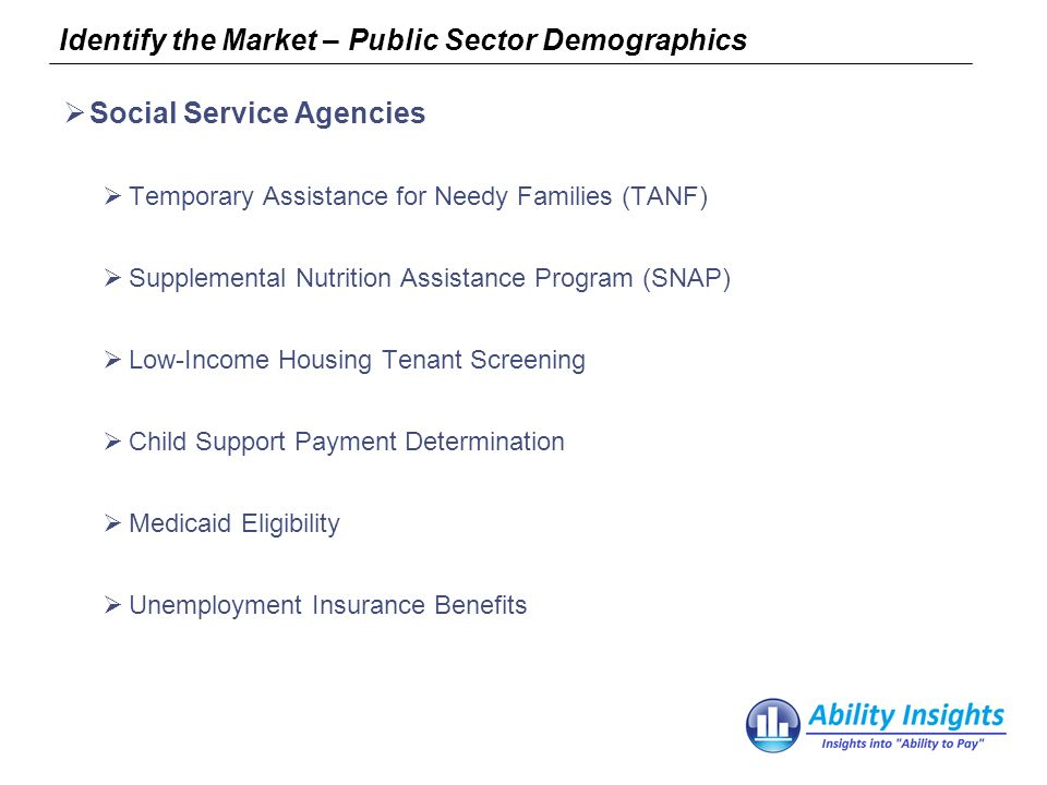 Identify the Market – Public Sector Demographics Social Service Agencies Temporary Assistance for Needy Families (TANF) Supplemental Nutrition Assistance Program (SNAP) Low-Income Housing Tenant Screening Child Support Payment Determination Medicaid Eligibility Unemployment Insurance Benefits