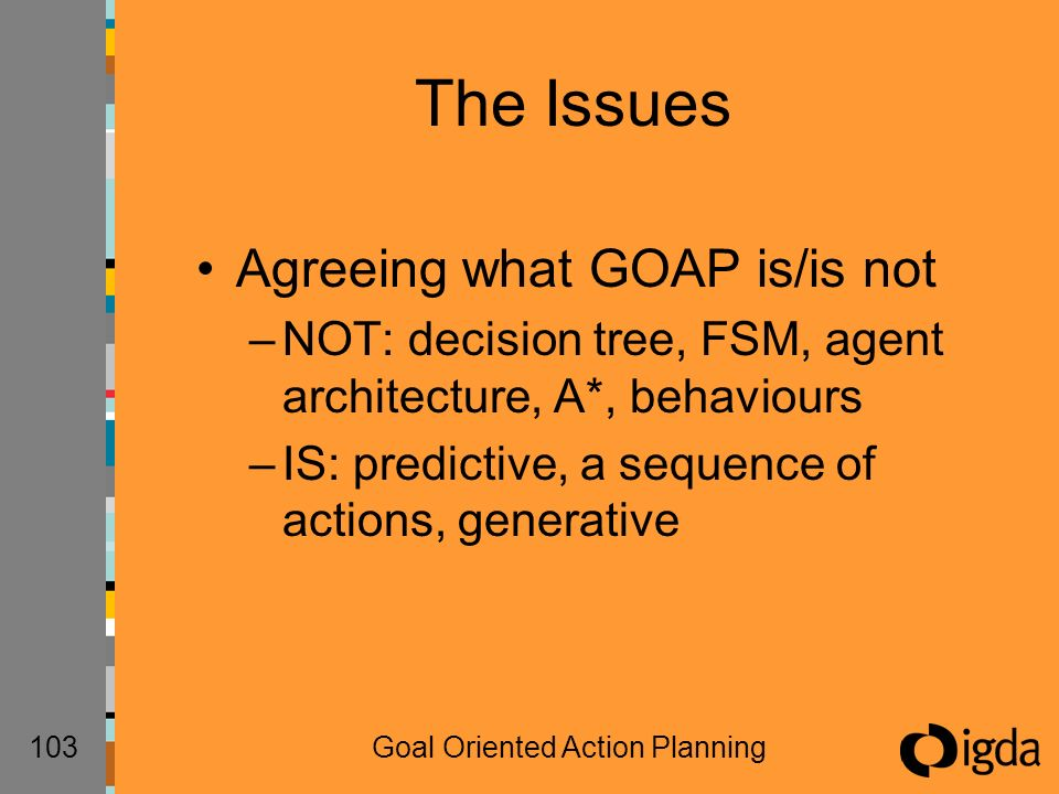 103Goal Oriented Action Planning The Issues Agreeing what GOAP is/is not –NOT: decision tree, FSM, agent architecture, A*, behaviours –IS: predictive, a sequence of actions, generative