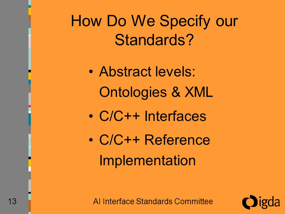 13AI Interface Standards Committee How Do We Specify our Standards? Abstract levels: Ontologies & XML C/C++ Interfaces C/C++ Reference Implementation