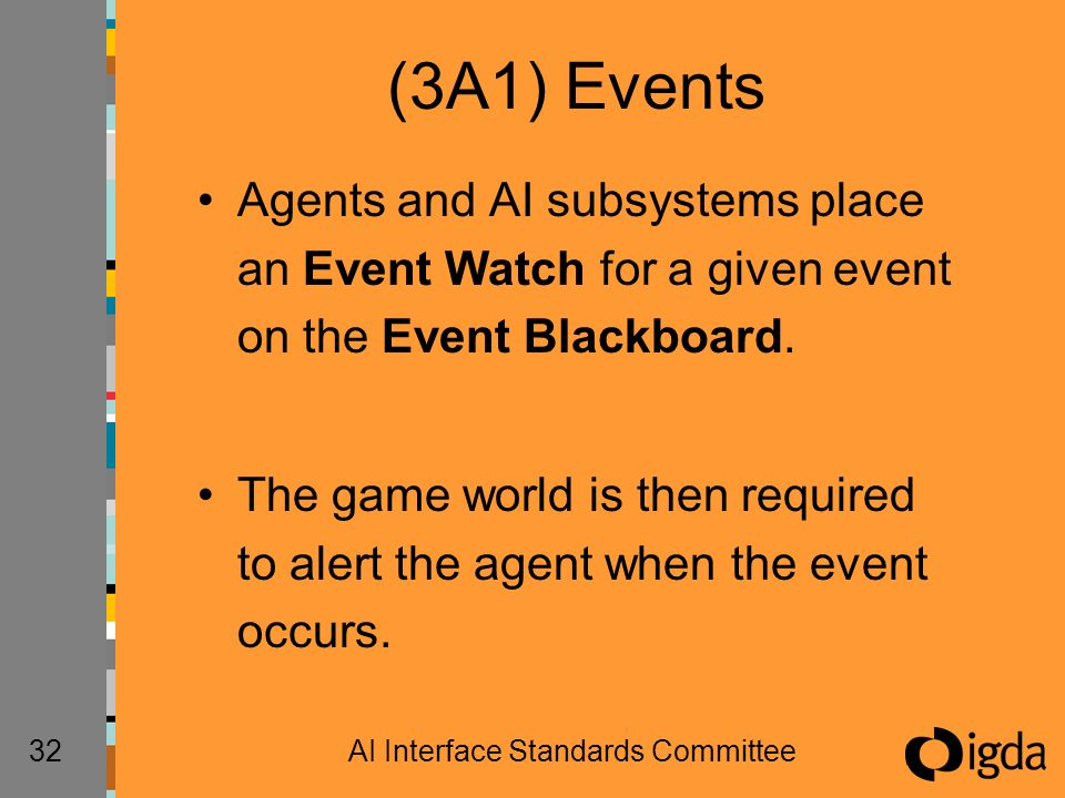 32AI Interface Standards Committee (3A1) Events Agents and AI subsystems place an Event Watch for a given event on the Event Blackboard.