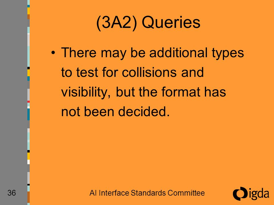 36AI Interface Standards Committee (3A2) Queries There may be additional types to test for collisions and visibility, but the format has not been deci