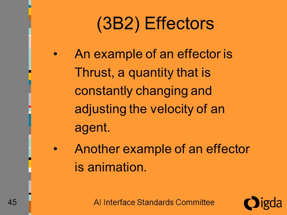 45AI Interface Standards Committee (3B2) Effectors An example of an effector is Thrust, a quantity that is constantly changing and adjusting the veloc