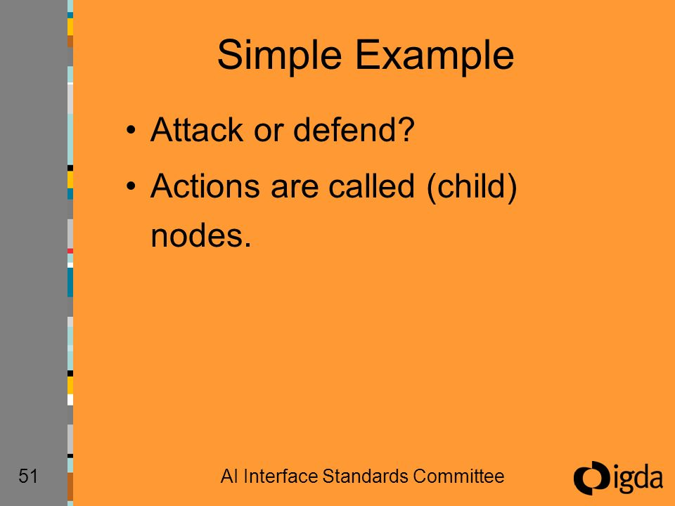 51AI Interface Standards Committee Simple Example Attack or defend? Actions are called (child) nodes.