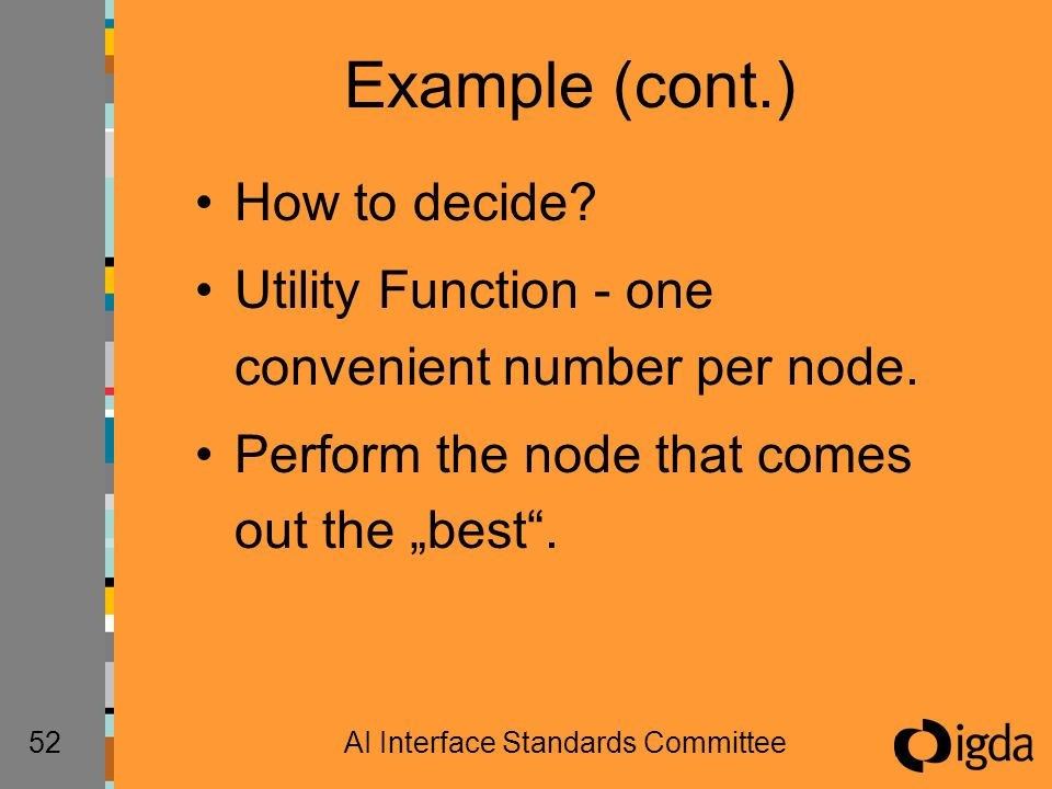 52AI Interface Standards Committee Example (cont.) How to decide? Utility Function - one convenient number per node. Perform the node that comes out t
